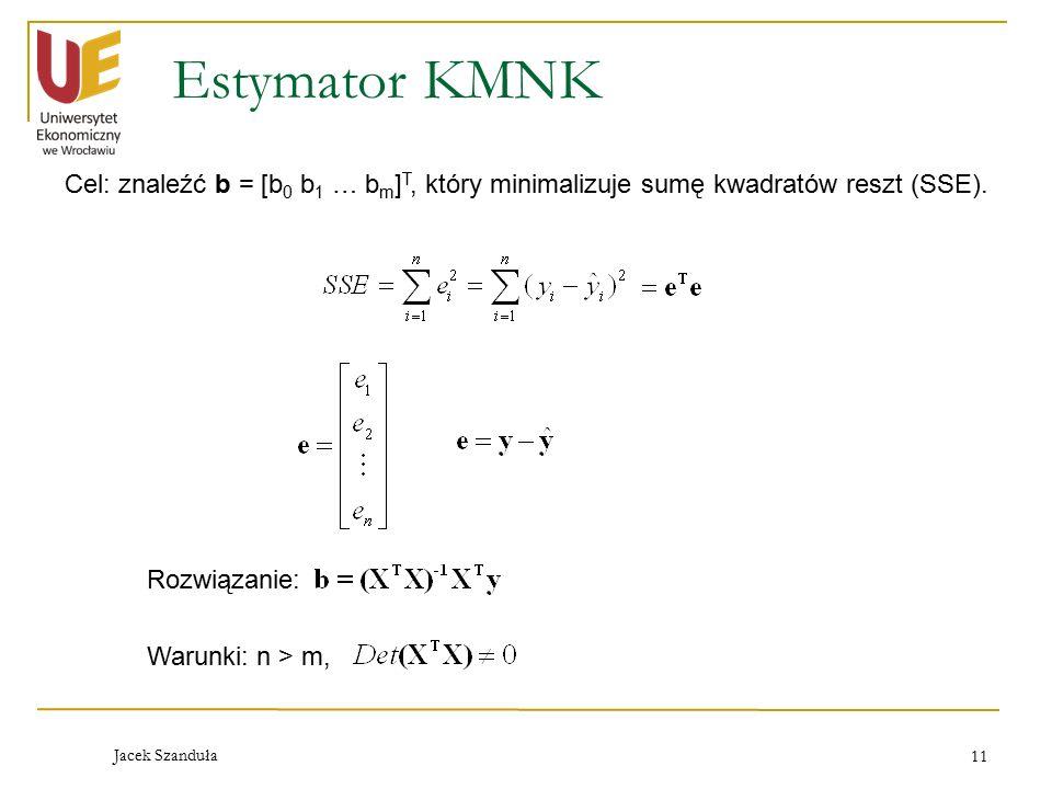 Estymator KMNK Cel: znaleźć b = [b0 b1 … bm]T, który minimalizuje sumę kwadratów reszt (SSE). Rozwiązanie: